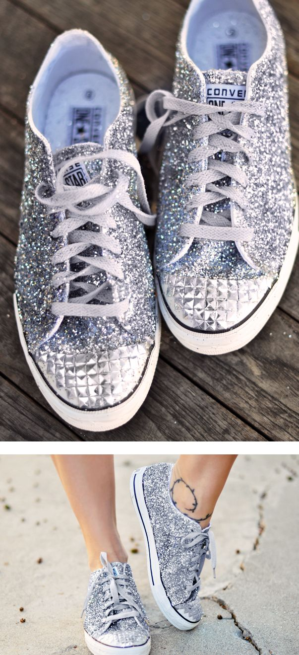 diy glitter converse wedding shoes.  perfect reception shoes! if you don't want to rock heels on your wedding day.
