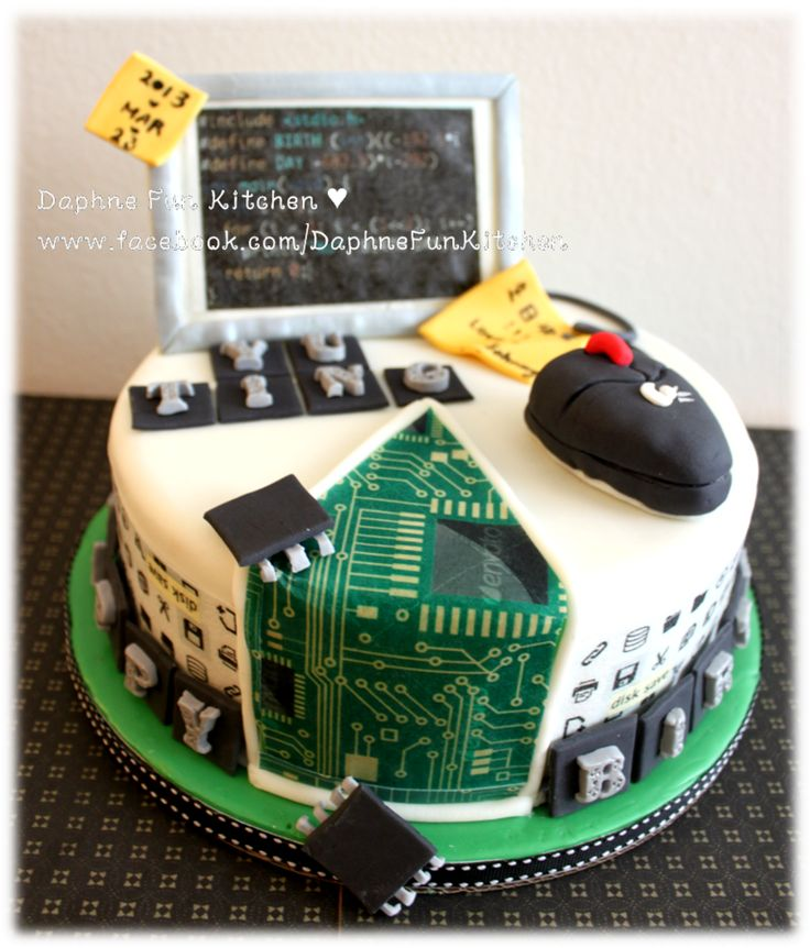 Computer science theme birthday cake