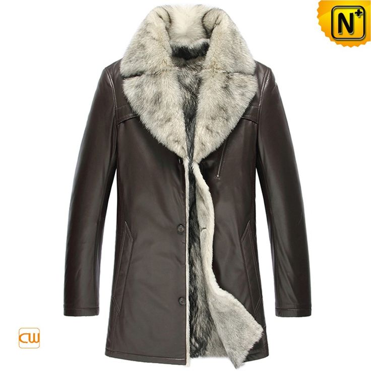 CWMALLS® Pierre Wolf Fur Leather Coat CW855209 - Quality wolf fur lined leather coat for men, made from natural lambskin shell and soft wolf fur lining, luxury looking with an exposed fur collar. To fit you better, CWMALLS® also offers free customization for you, wish you not to miss this fur leather coat.