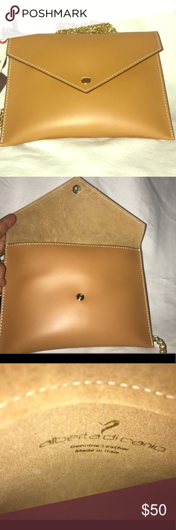 NWT ALBERTA DI CANIO ITALY CAMEL TAN LEATHER . Envelope Crossbody Purse Pouch Clutch bag Alberta Di Canio Bags Crossbody Bags