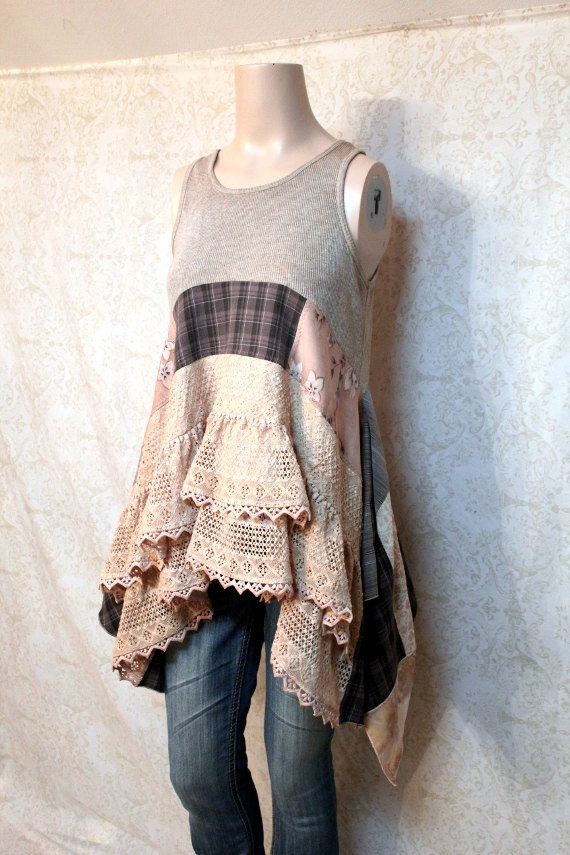 REVIVAL Boho Shirt, Shabby Chic Romantic, Hippie Bohemian Junk Gypsy Style, Mori Girl, Lagenlook, Country Girl Chic, Free People Style, Anthropologie Inspired, Coachella Music Festival Shirt