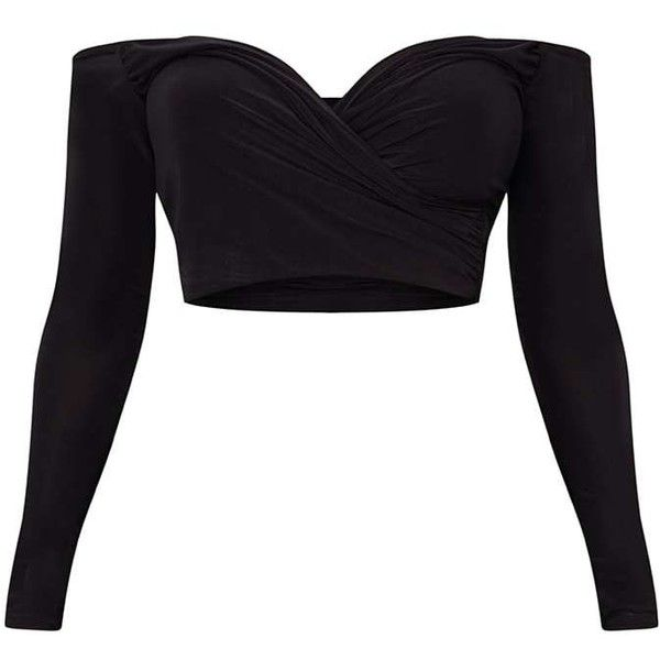 Shape Black Slinky Bardot Crop Top ($18) ❤ liked on Polyvore featuring tops, shirts, shirt crop top, cropped shirts, crop tops, shirt top and cut-out crop tops