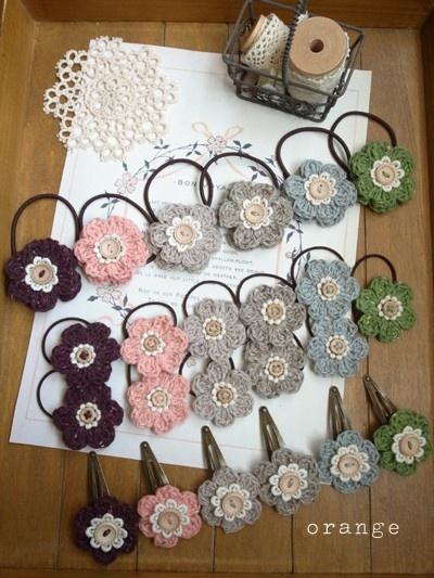 Crocheted flowers hair pretties
