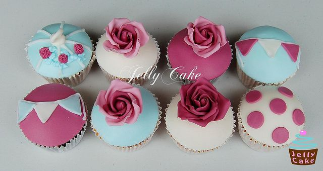 Turquoise and Pink Wedding Cupcake Tower, via Flickr.