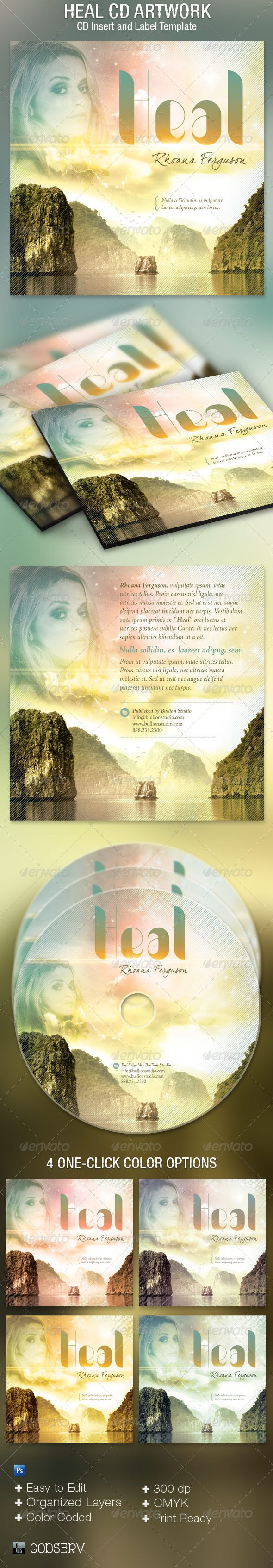 Heal CD Artwork Template — Photoshop PSD #contemporary #label • Available here → https://graphicriver.net/item/heal-cd-artwork-template/5034454?ref=pxcr