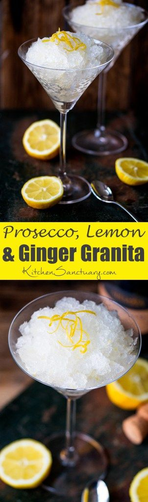 Prosecco Lemon and Ginger Sorbet. A seriously refreshing boozy dessert - perfect for a hot summers day.