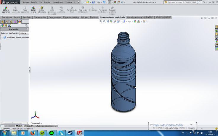 Un prototipo de una botella de bebida para deportistas tipo powerade, hecha de polímero translúcido.