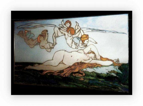 Cabanel Nascita di Venere. Quadro dipinto su di Lartistadelvetro