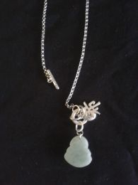 Available @ trendtrunk.com STERLING-SILVER-NECKLACE-WITH-JADE-BUDDHA-GOOD-LUCK-PENDANT-Jewellery By STERLING SILVER NECKLACE WITH JADE BUDDHA GOOD LUCK PENDANT Only $38.00