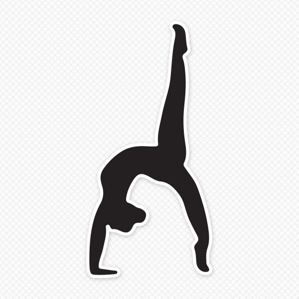 Solid Black Gymnast Silhouette Sticker