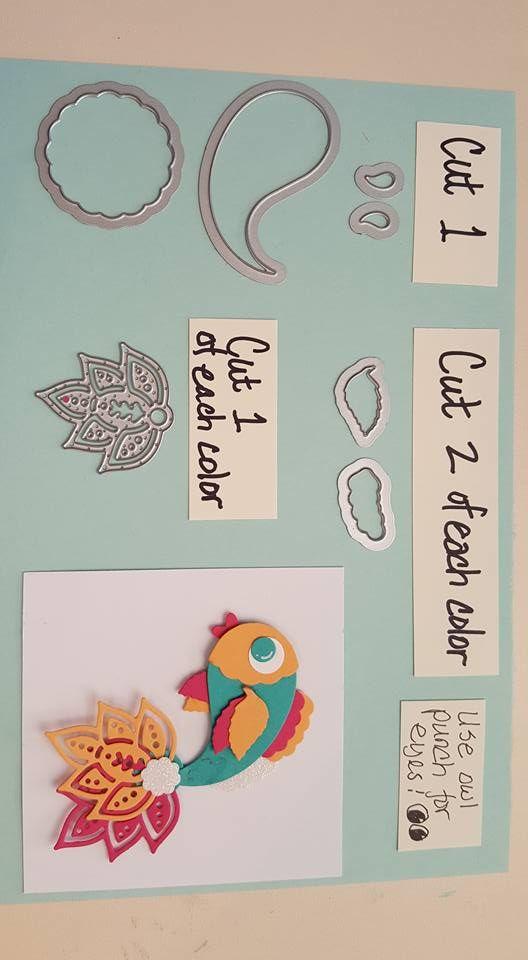 Fish punch art using Stampin UP Paisley framelits