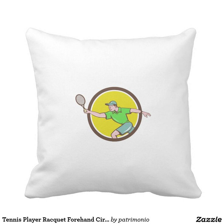 Tennis Player Racquet Forehand Circle Cartoon Pillow. 2016 Rio Summer Olympics pillow with an illustration of a tennis player holding a racquet doing a forehand shot viewed from the side set inside a circle done in cartoon style. #tennis #olympics #sports #summergames #rio2016 #olympics2016