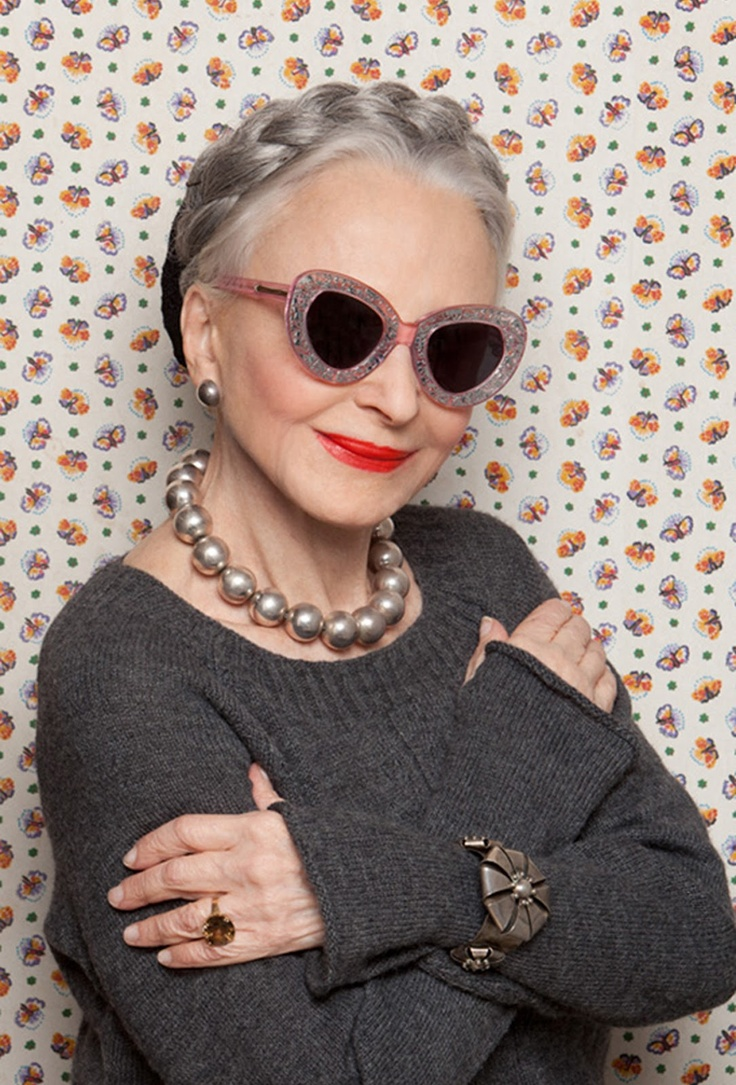 Joyce Carpati (age 80) in Northern Lights sunglasses by Karen Walker 2012