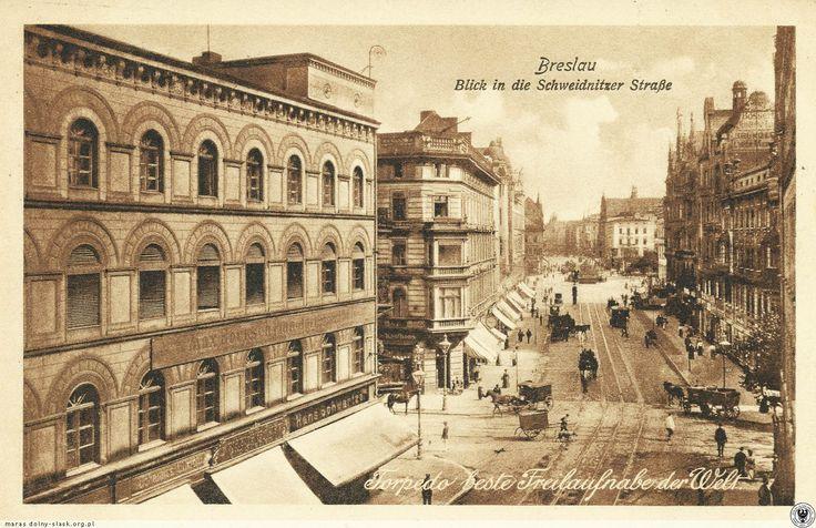 Skrzyżowanie ul. Świdnickiej i Piłsudskiego, widok w kierunku północnym.Rok 1907
