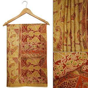 Gratis envío Vintage tradicional Upcycled Paisley impresa sari de seda puro vestido Beige haciendo utilizado Art Deco Arte tela Sari PS46606