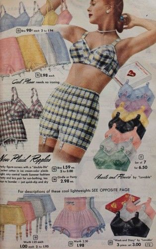 1950s Colorful Lingerie- plaid? Why not.  #1950s #lingerie