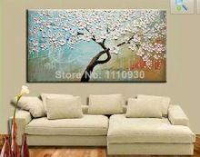 ücretsiz kargo el yapımı Modern Soyut decorativewhite çiçek çiçeklenme ağaçlar yağlıboya tuval duvar sanatı oturma odası için(China (Mainland))
