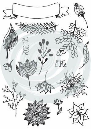 Tampons Acrylique - Mix Créatifs 'Les Baniières Fleurs' DIY & Cie