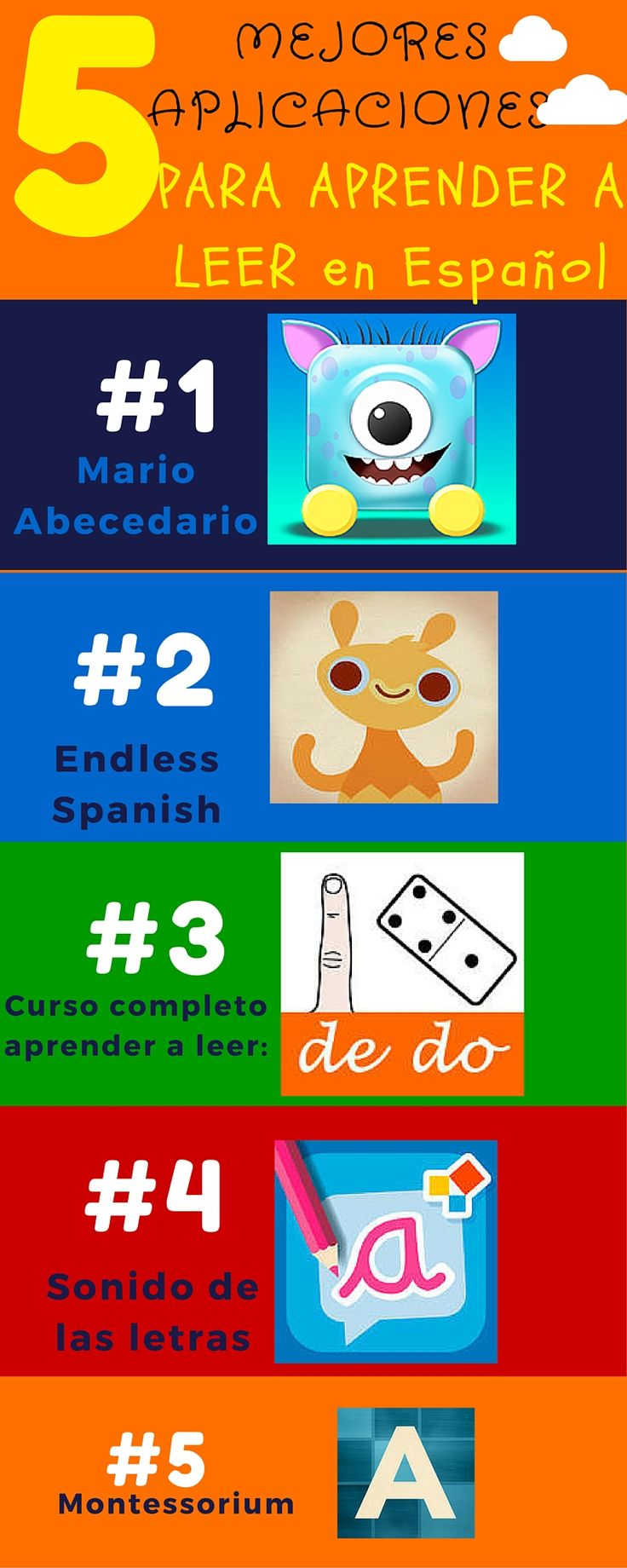 5 aplicaciones para aprender a leer #1 Mario Abecedario : ios: https://itunes.apple.com/es/app/mario-s-alphabet-learn-to/id1032355409?mt=8 android: https://play.google.com/store/apps/details?id=com.tucan.mario&hl=es_419