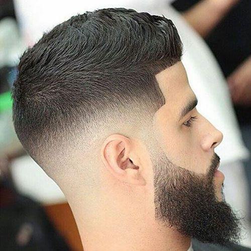 Medium Fade + Thick Beard + Short Faux Hawk