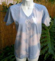 Soft, pretty hand-dyed tie-dye, Organic Cotton V-neck Tee. Now half off!!