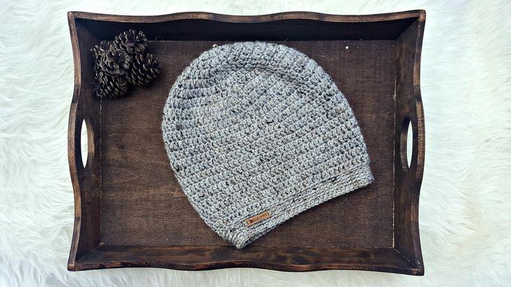 Slouchy Beanie // THE CARPENTER BEANIE // Grey Hat / Crochet Slouchy Hat / Slouchy Knit / Slouchy Tam / Boho Hat / Hipster Beanie / M - L