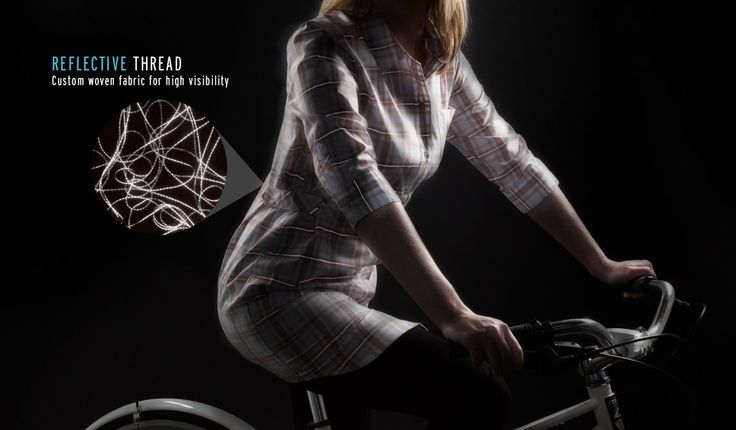 Bike safely thanks to the reflective threads of the Betabrand Bike to Work Plaid shirt-dress