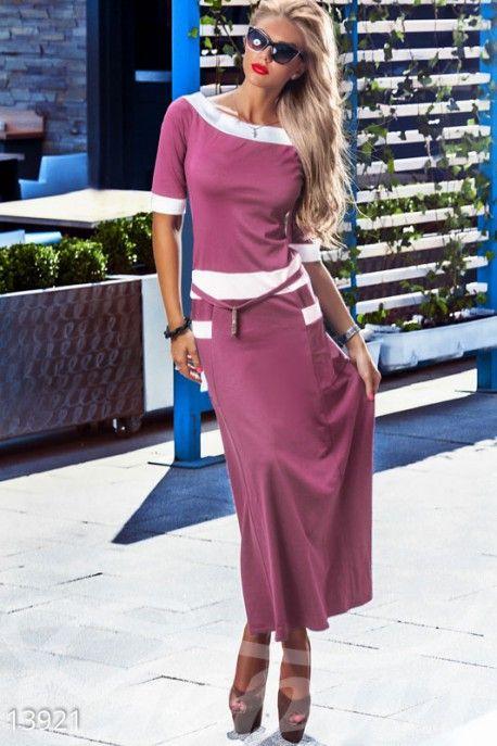 Трикотажное длинное платье 13921 фото 1