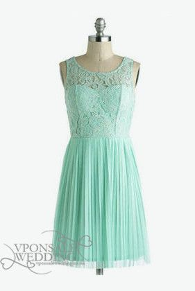 Short Mint Lace Bridesmaid Gowns DVW0118 | VPonsale Wedding Custom Dresses