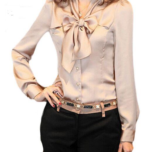Barato 2016 primavera mulheres Blusas Tops do pescoço de manga comprida Chiffon blusa mulheres escritório, Compro Qualidade Blusas & Camisas diretamente de fornecedores da China: