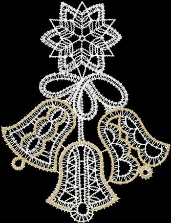 Advanced Embroidery Designs - FSL Battenberg Christmas Bells Lace