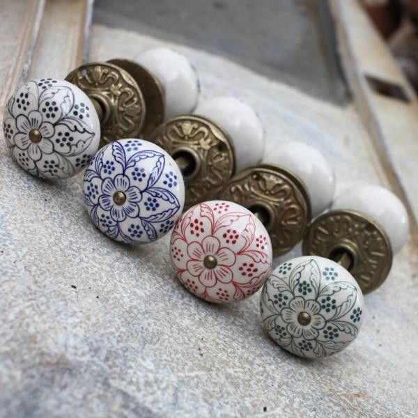 Ceramic Door Knobs (Pair) - Aged Brass Collar & Rose - DOOR KNOBS - PRODUCTS
