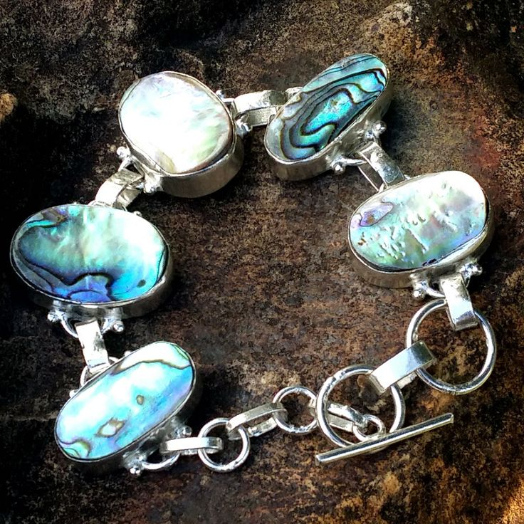 Hand Crafted Natural Paua Shell Bracelet