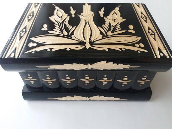 Nieuwe zwarte houten premie puzzel doos sieraden magische mysterie vak geheim compartiment binnen lastig jacht avontuur vak perfecte gift verborgen sleutel