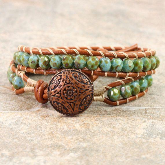 Koper leer Wrap armband groen Boheemse door AbacusBeadCreations