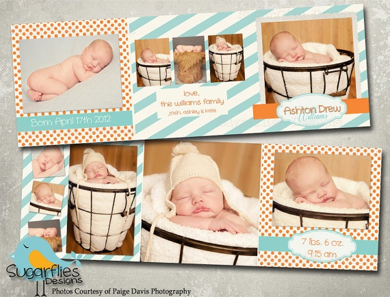 Baby Boy Announcement Templates  Baby Boy by SugarfliesDesigns, $8.00
