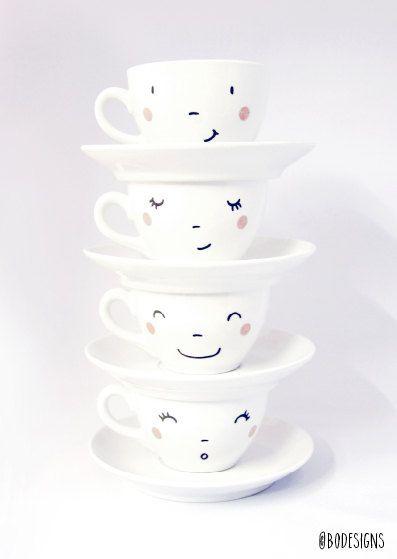 4 Tassen handgedruckt glückliche Gesichter von BodesignsSHOP
