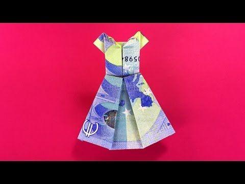 Geldschein falten Kleid – Brautkleid zum Geldgeschenke basteln zur Hochzeit – Or