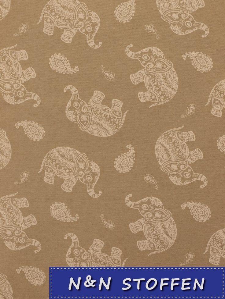 Bedrukte stof olifanten linnen look -  N & N Stoffen