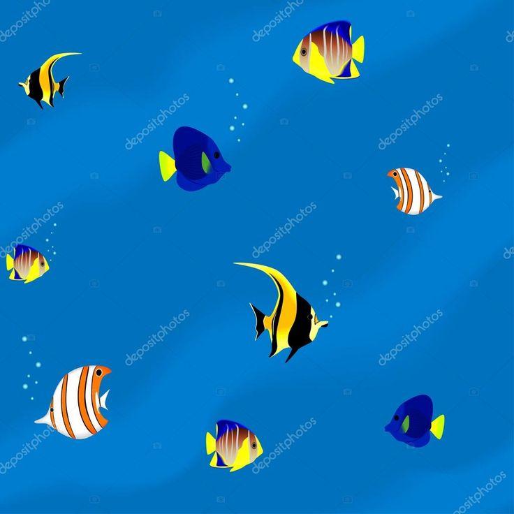 Varrat nélküli mintát - színes trópusi hal akvárium — Stock Illusztráció #21274873