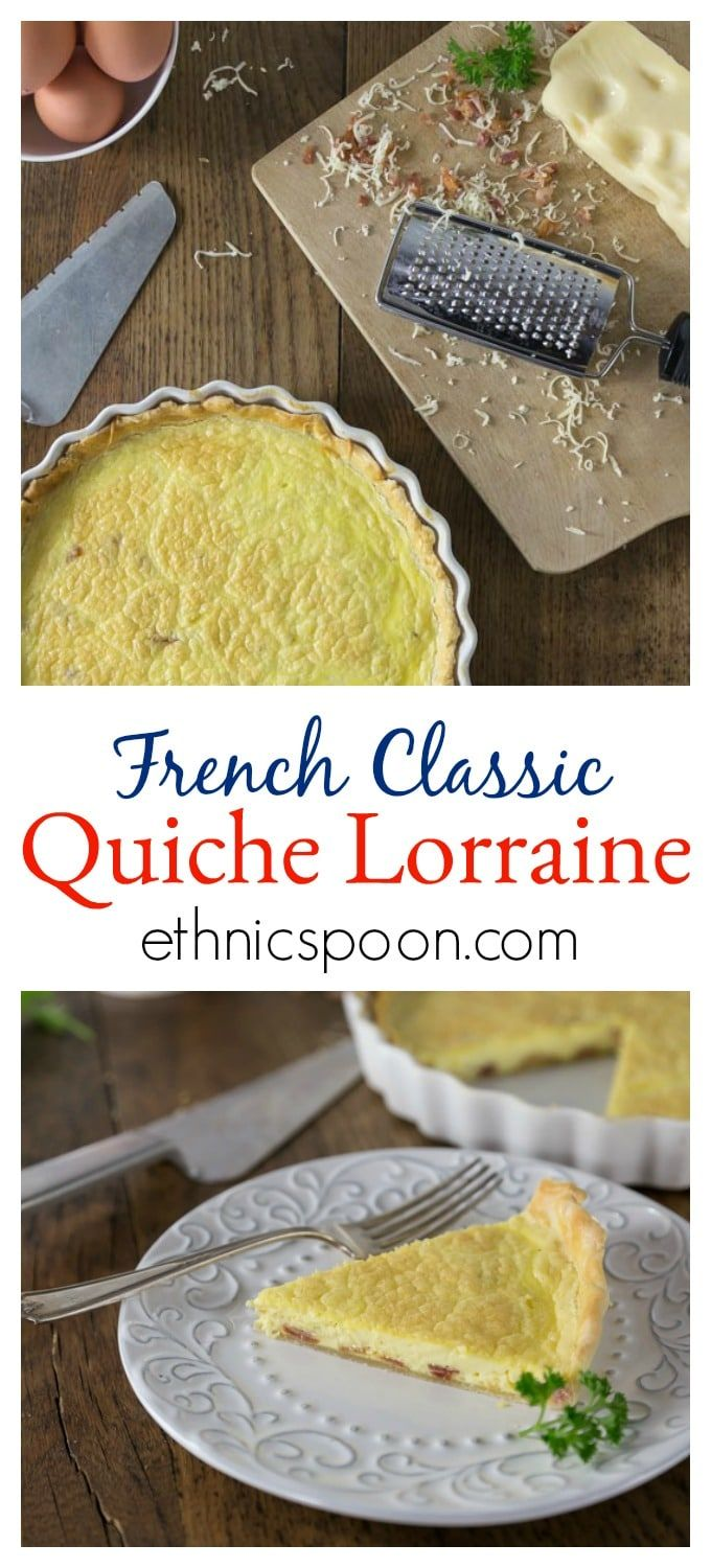 Creamy, rich and delicious! Quiche Lorraine is from the North East region of France which borders, Belgium, Germany and Luxembourg. This is a dish for all meals: breakfast, brunch, lunch or dinner. This has such a rich custard like texture with a salty cheese and bacon flavors what is not to love! Simple ingredients of eggs, bacon, cream and cheese that come together in a crispy crust. Quiche Lorraine is a slice of goodness and you will love the flavor! #quiche #frenchfood #quichelorraine…