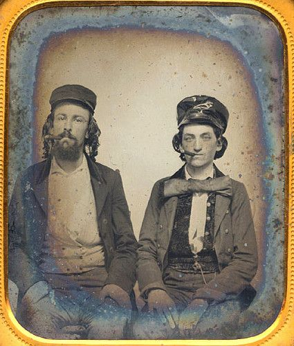 ca. 1860's, [ambrotype portrait of two men smoking cigars] via Christopher Wahren Fine Photographs, Skylight Gallery
