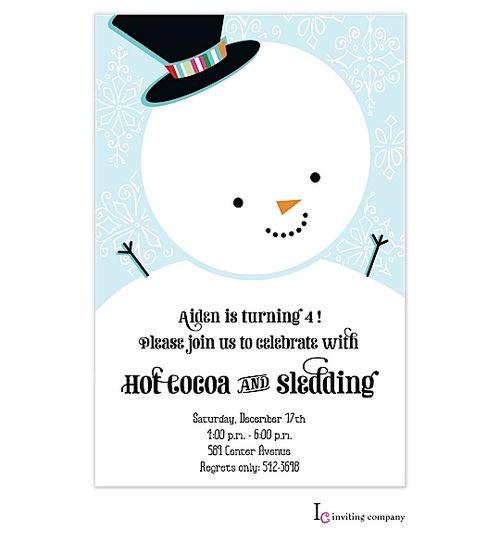 Children's Birthday Party Invitations- Snowman