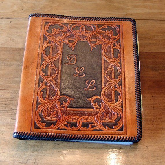Hand Tooled Leather 3Ring Binder / Notebook by DavidsLederLaden