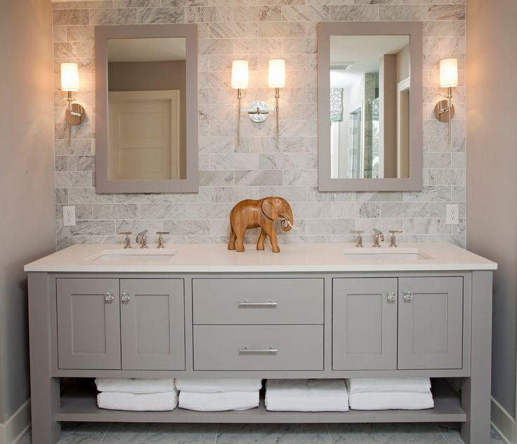 carrara marble Bathroom Beach with baseboards bathroom mirror freestanding vanity gray backsplash