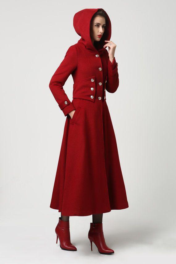 Vestido de mujer abrigo, abrigo largo rojo, capa con capucha, abrigo de lana, abrigo militar, abrigo largo, abrigo, abrigo de invierno, disponible en negro y azul (1107)