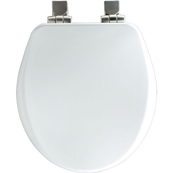 Photo of Alesio round white toilet seat with brushed nickel hinges