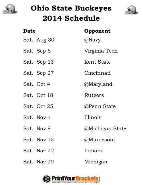 Printable Ohio State Buckeyes Football Schedule
