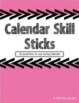 Calendar Skill Stick Questions - 36 questions about the calendar to use at morning meeting / calendar time.
