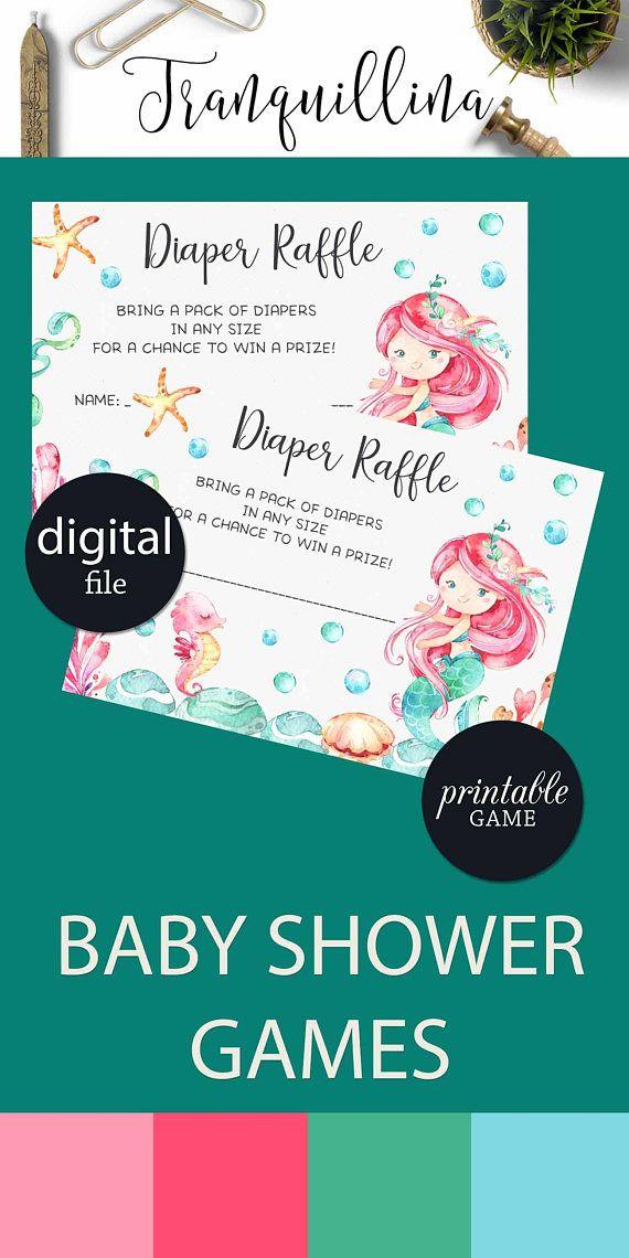 Mermaid Diaper Raffle Insert Printable Mermaid baby shower game, Under the sea party theme, Girl baby shower ideas #trendy #mermaid
